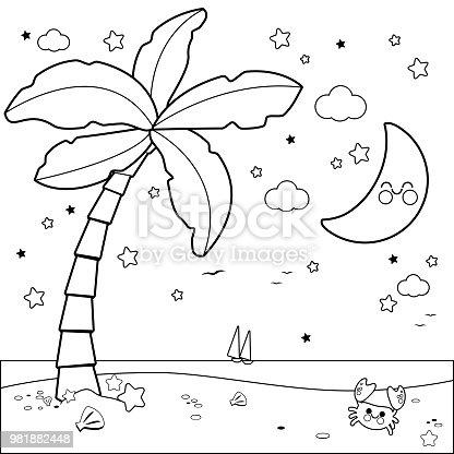 istock Niño y niña en una isla Libro de colorear página 534308664 ...