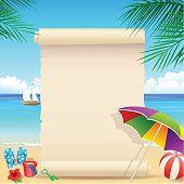 Vector tropical beach with palm tree. Download includes high resolution jpeg. EPS10 file.