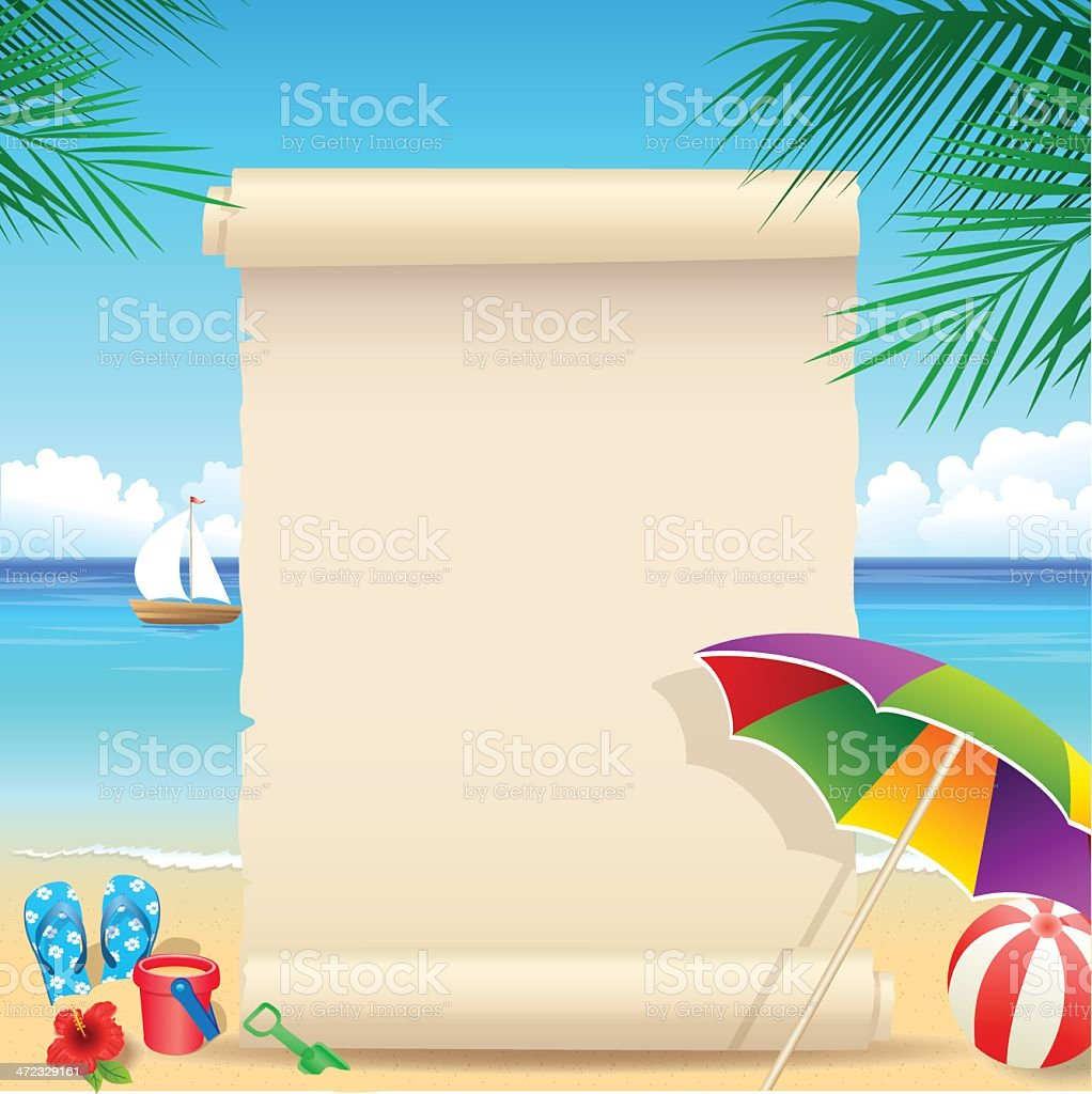 Tropical Beach with palm tree vector art illustration