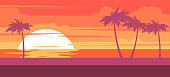 istock Tropical beach with palm trees and sea - summer resort at sunset 880207968