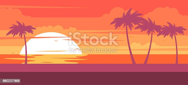 Tropical beach with palm trees and sea - summer resort at sunset
