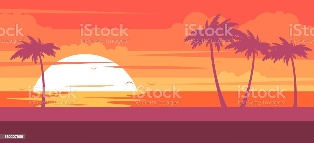 Tropical beach with palm trees and sea - summer resort at sunset vector art illustration