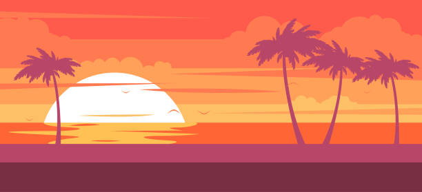 tropical beach with palm trees and sea - summer resort at sunset - zachód słońca stock illustrations