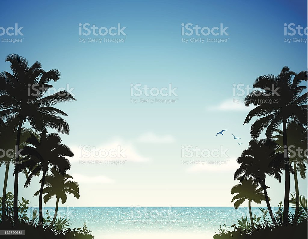 Tropical Beach with Palm Trees vector art illustration