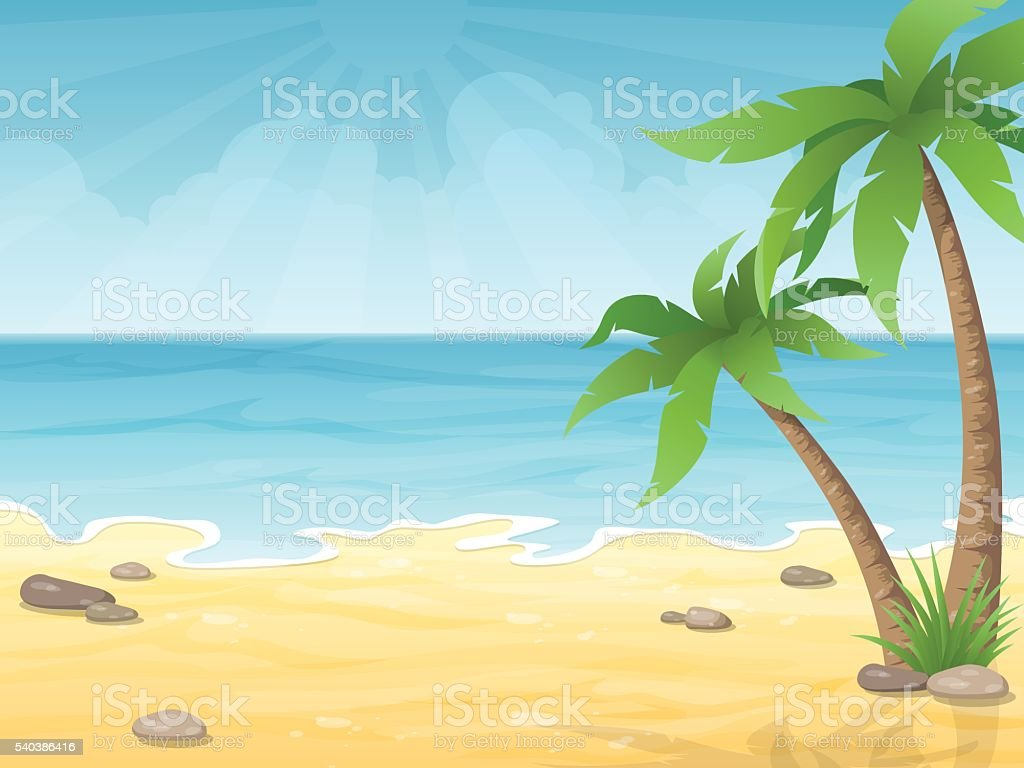 tropical beach with palms tree vector art illustration