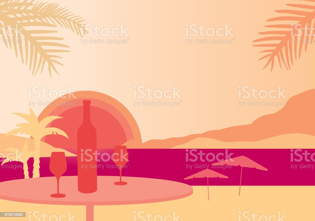 Tropical beach with parasols, sea with sunset, table with bottle of wine and two glasses - vector vector art illustration