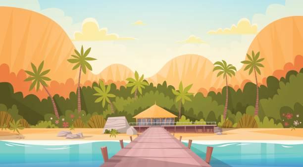 tropical beach mit bungalow haus wasserlandschaft, sommer urlaub reisekonzept - villas stock-grafiken, -clipart, -cartoons und -symbole