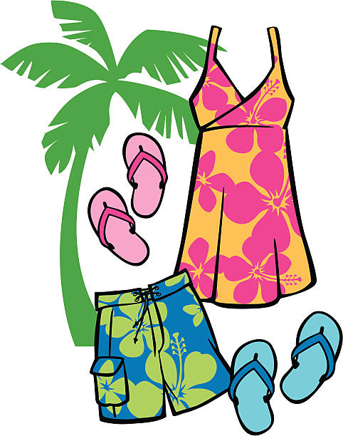 Tropical Beachwear vector art illustration
