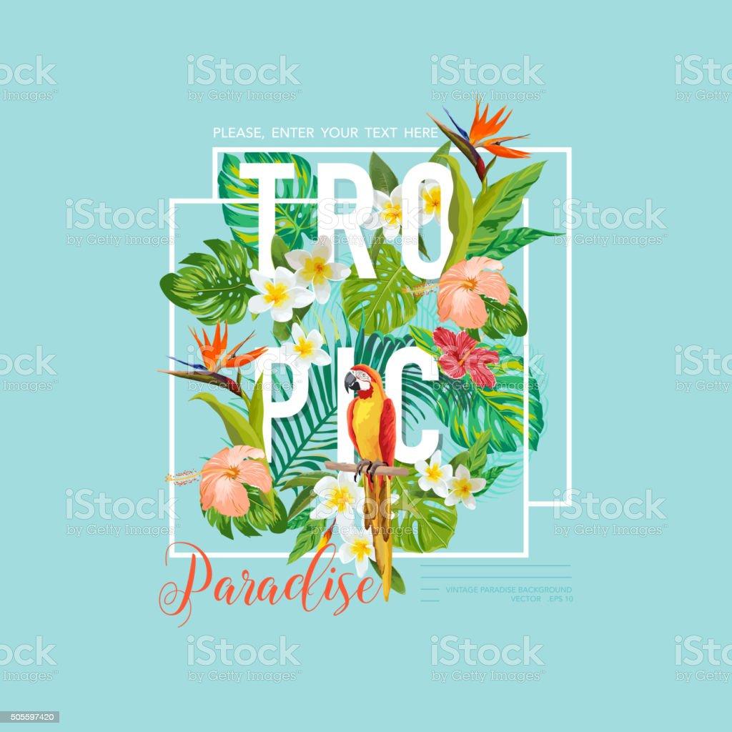 Tropische Vögel und Blumen-Grafik-t-shirt, Mode für – Vektorgrafik