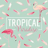 Tropical Bird. Flamingo Background. Summer Design. Vector. T-shirt Fashion