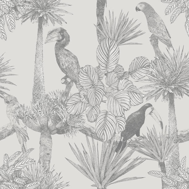 Tropical Birds and Palm Tree Seamless Repeat Vector seamless repeat. All colors are layered and grouped separately. Icons are available in more detail and in stroke form from my iStock folio. Easily editable. exotic animals stock illustrations