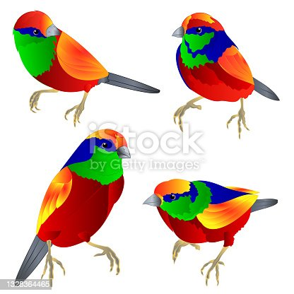 istock Tropical birds watercolor  on a white background  vintage set first vector illustration editable 1328364465