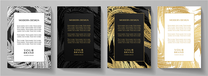 Tropical black and gold frame design set (collection). Premium layout with luxury golden leaf (fern) print pattern