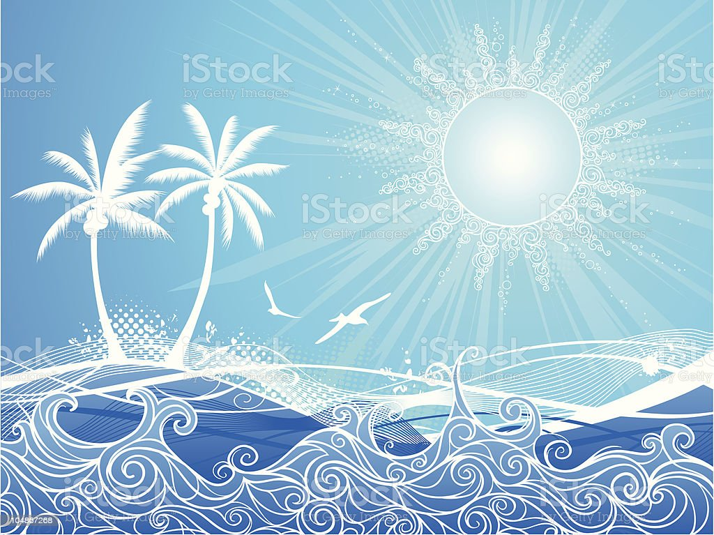 Tropical blue background royalty-free stock vector art