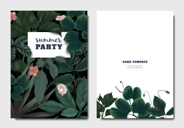 tropischer botanischer garten einladung karte vorlage design, mohn und hibiskus blüten mit blättern auf schwarzem hintergrund - hibiskusgarten stock-grafiken, -clipart, -cartoons und -symbole