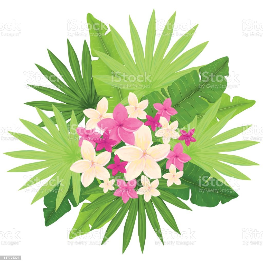 Tropical Bouquet With Flowers And Palm Leaves Summer Vector Design