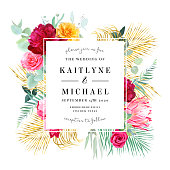 Tropical bright wedding vector design frame. Pink protea, burgundy red peony, yellow rose, exotic leaves, eucalyptus, palm greenery, pampas grass. Island bunch of flowers card. Isolated and editable