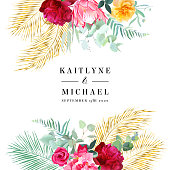 Tropical bright wedding vector design square frame. Pink protea, burgundy red peony, yellow rose, exotic leaves, gold palm greenery, pampas grass. Island bunch of flowers card. Isolated and editable