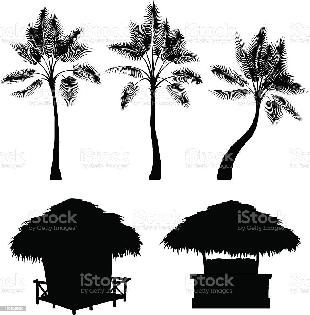 Tropical bungalow and palm vector art illustration