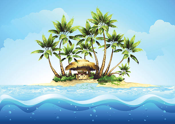 Tropical bungalow bar on island in ocean vector art illustration