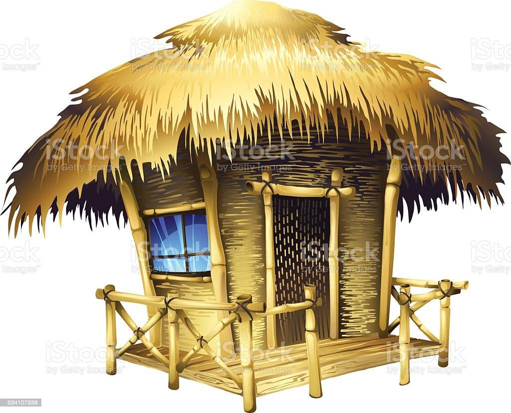 Tropical bungalow vector art illustration