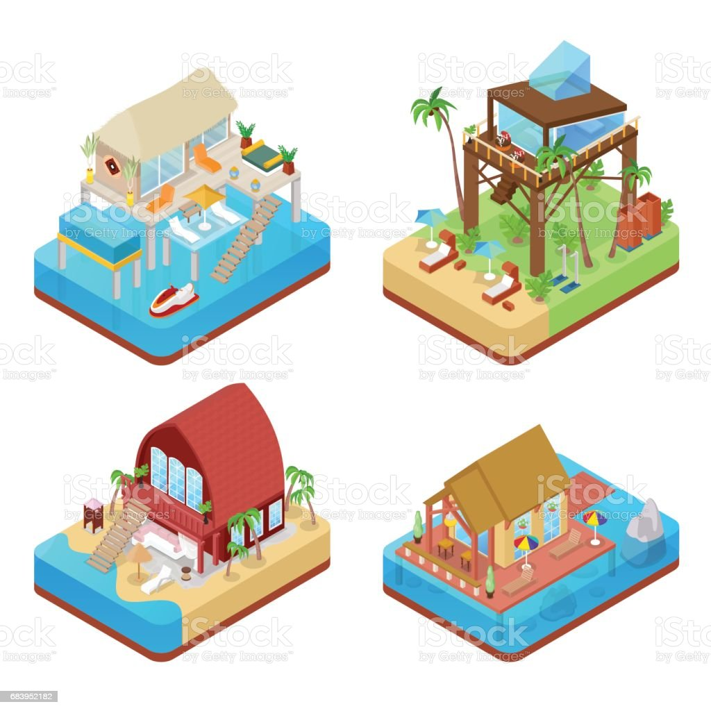 Tropical Bungalow with Jet Ski. Beach Isometric vector art illustration