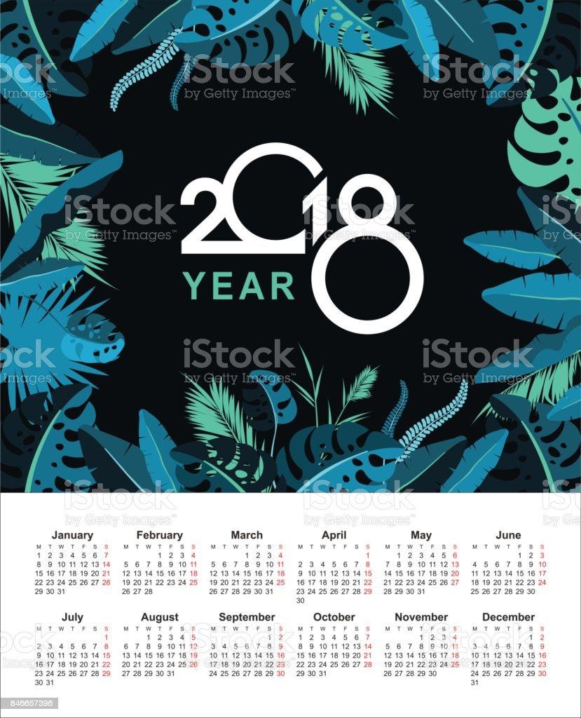 tropical calendario 2018 - ilustración de arte vectorial