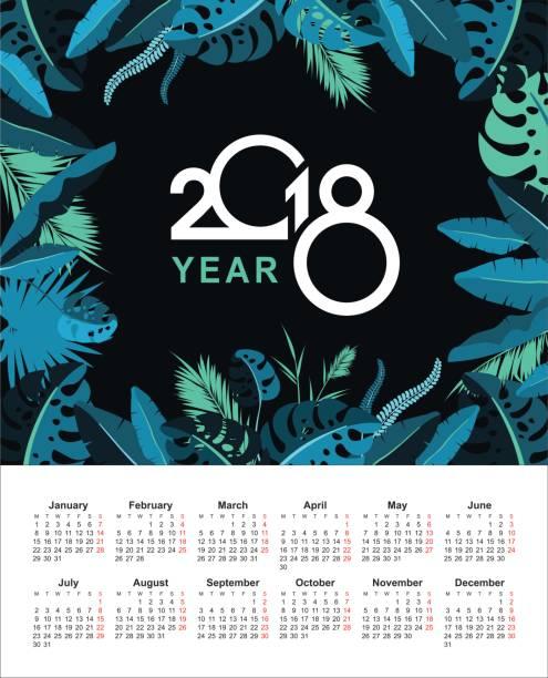 ilustraciones, imágenes clip art, dibujos animados e iconos de stock de tropical calendario 2018 - calendario de naturaleza