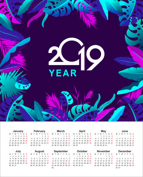 ilustraciones, imágenes clip art, dibujos animados e iconos de stock de calendario tropical año 2019 - calendario de naturaleza