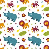 Tropical cartoon african animals rhino, monkey, lion and plants. Seamless pattern isolated on white background. For t-shirts, fabrics, wrapping paper, printing, web. Vector illustration