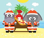 Tropical Christmas background with elephant and hippo
