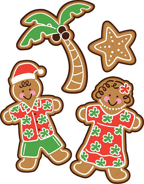 Tropical Christmas Cookies vector art illustration