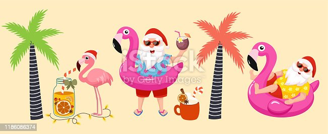 Tropical Christmas. Funny tropical collection of images with santa, flamingo, palm tree and flamingo inflatable ring. Vector illustrations.