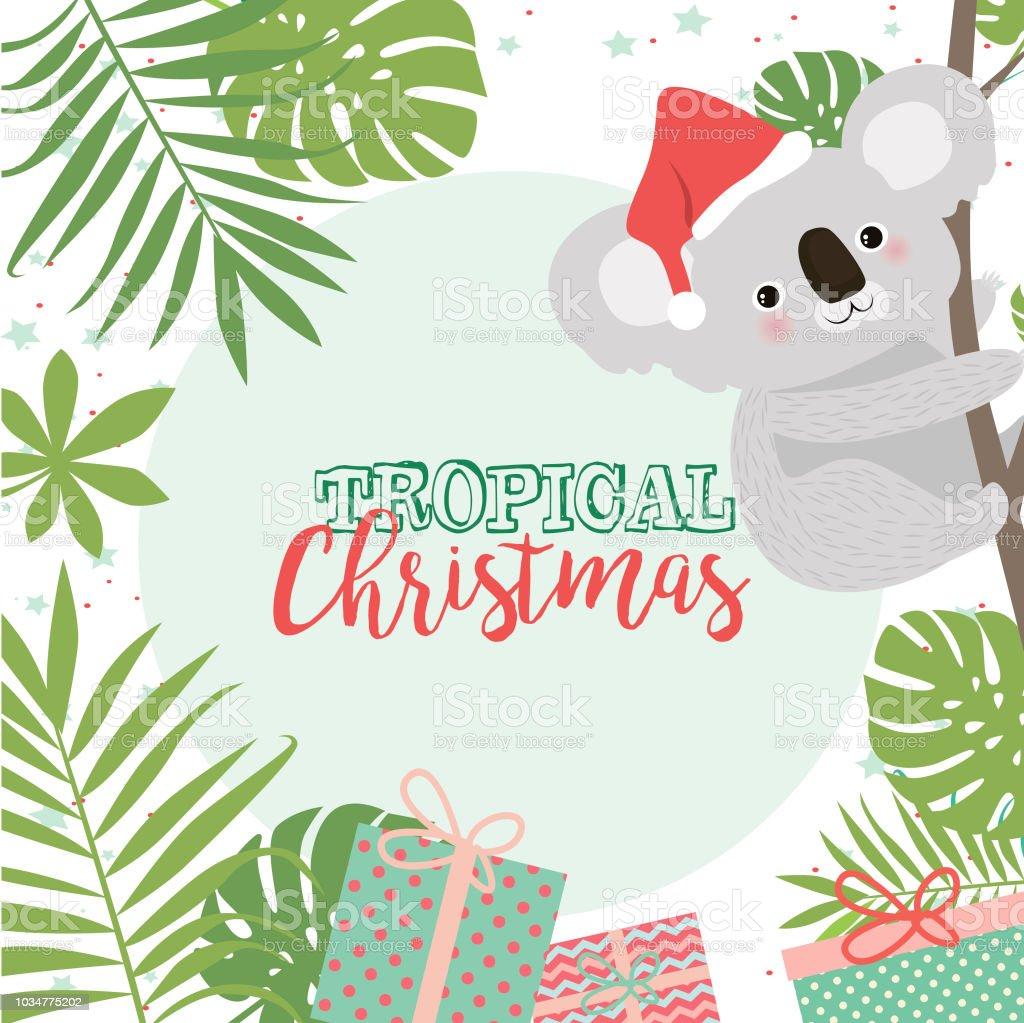 Tropical Christmas Greeting Card With Koala Bear And Palm Leaves