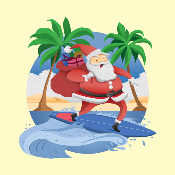 Tropical Christmas with Surfer Santa Santa Claus surfing a wave on tropical beach australian christmas stock illustrations