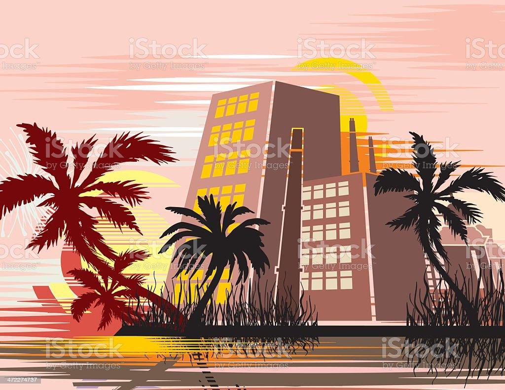 Tropical Cityscape Background vector art illustration