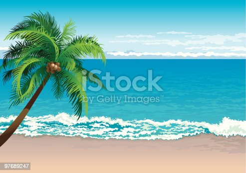 Vector illustration  of coconut palm tree on a beach - Horizontal format