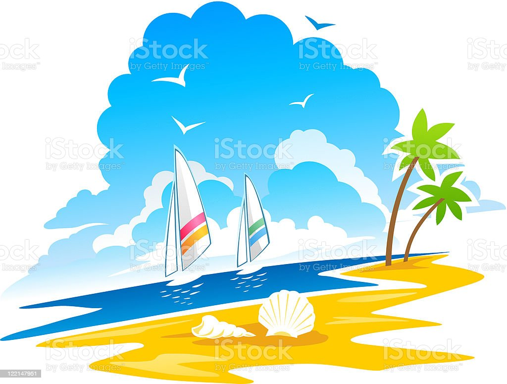 Tropical Coastline vector art illustration