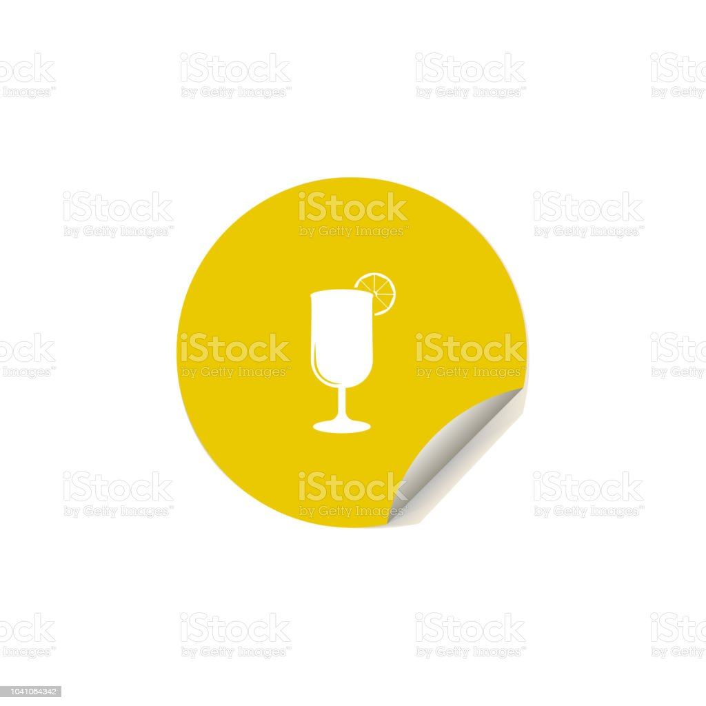 tropical cocktail icon in sticker style. One of summer pleasure collection icon can be used for UI, UX vector art illustration