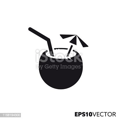 Tropical cocktail in coconut solid black icon. Glyph symbol of drinks and summer holidays. Beverage flat vector illustration.