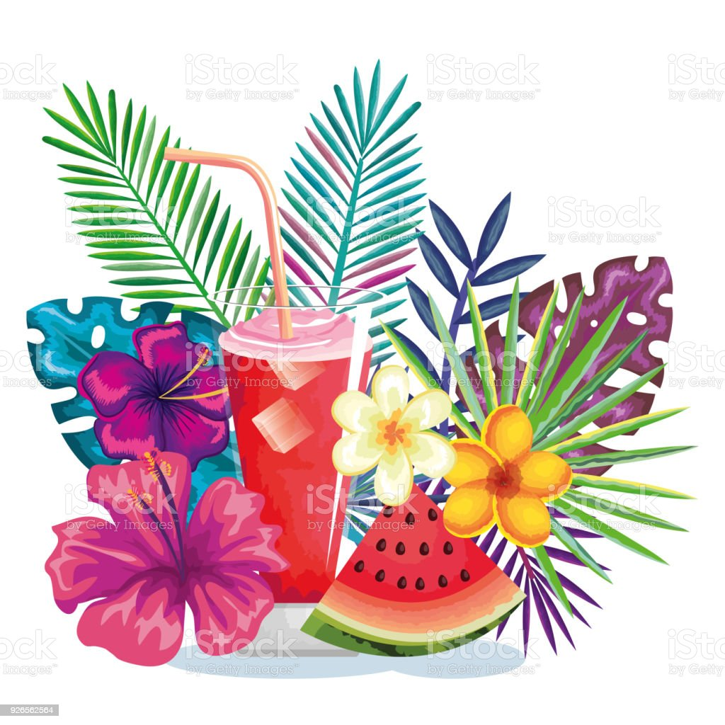 tropical cocktail with watermelon fruit and decoration floral