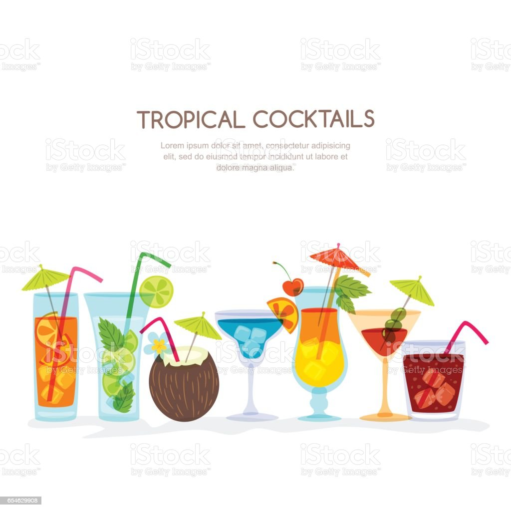 Tropical cocktails set, vector hand drawn illustration. Various isolated cocktail glass with beverages. vector art illustration