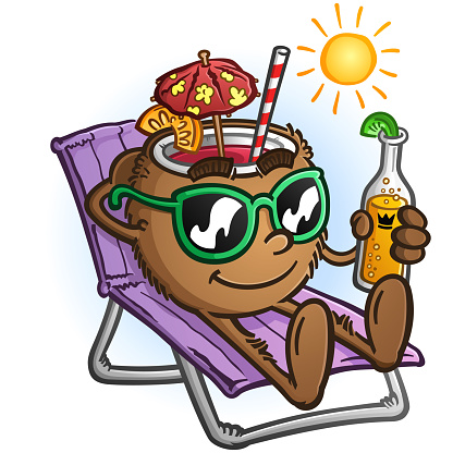 Tropical Coconut Drink Cartoon Character on Vacation
