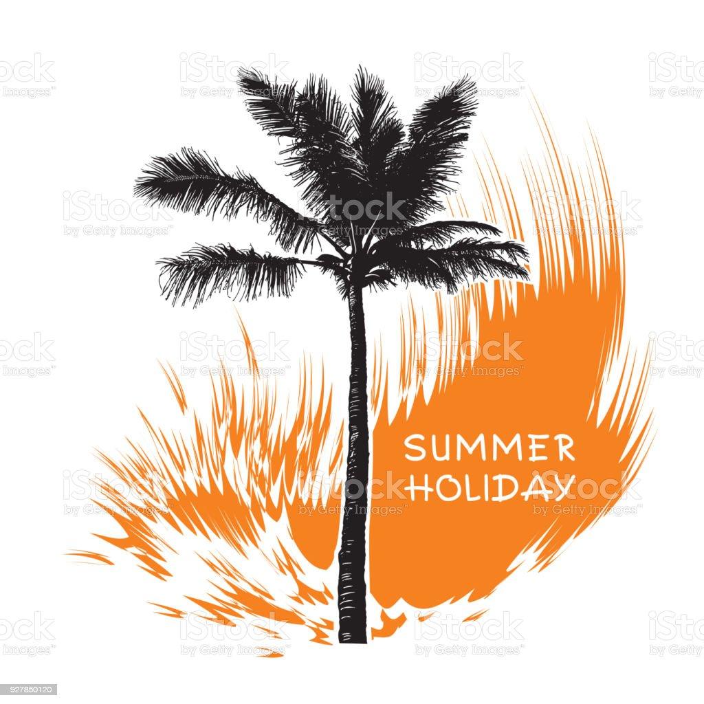 Ilustración de Palma De Coco Tropical Onda De árbol Y Naranja y más ...