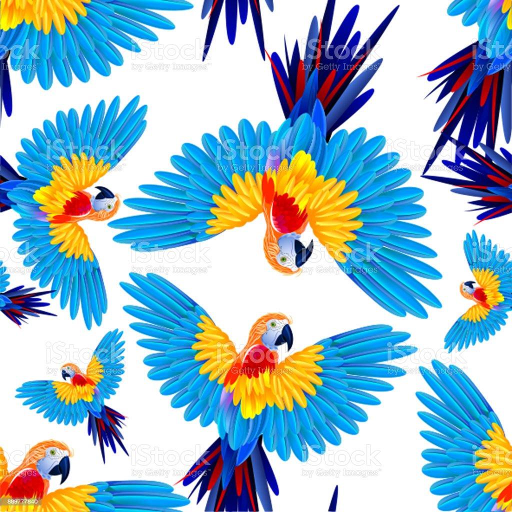 Tropisch bunte Papageien im Flug. Nahtlose Vektormuster. – Vektorgrafik
