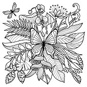 Tropical flowers, plants and insects composition. Floral coloring page.
