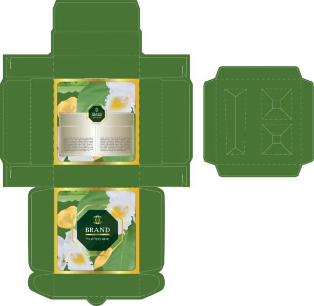tropische konzept, box-design für eine reihe von hautpflege-produkte mit würfel schneiden tablett vorlage für kosmetische behälter - stanzen stock-grafiken, -clipart, -cartoons und -symbole