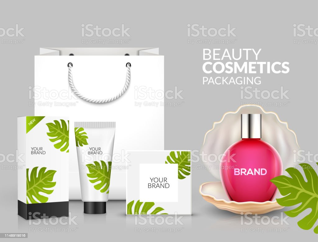 Tropical Cosmetic Package Design Natural Summer Beauty Advertising