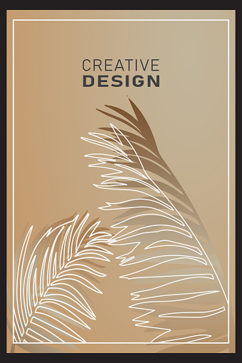Tropical cover design set with palm branch illustration stock