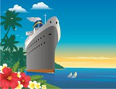 Cruise Ship at a Tropical Destination with Yachts,Flowers and Palm Trees at Sunset. Art on editable layers.
